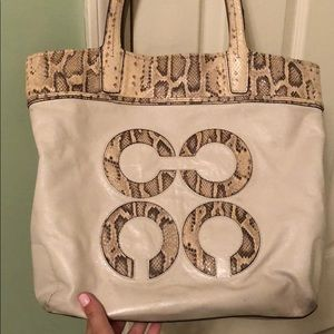 Coach Cream and Snakeskin Leather Tote